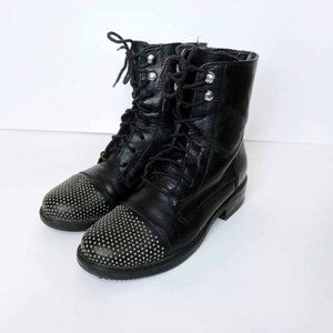 aldo black leather lace-up moto boots with studded toe - size 38